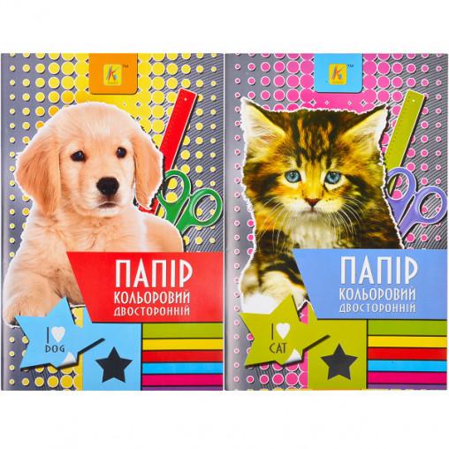 """Цветная бумага А4 16 листов двухсторонняя №2, финская картонная обложка """"Коленкор"""" 000778"""