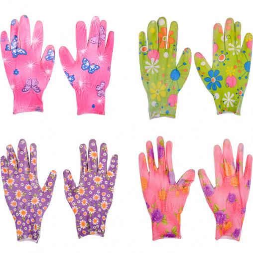 Перчатки прорезиненные женские с рисунком Х4-2