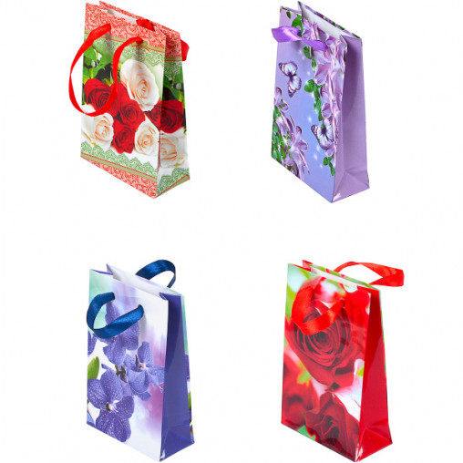 """Пакет цветной МИНИ """"Цветы"""" 9х12х3,5 см 0001"""
