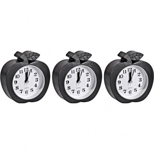 """Настольные часы - будильник НА-666 """"Яблоко черное"""" 10*11*4см"""