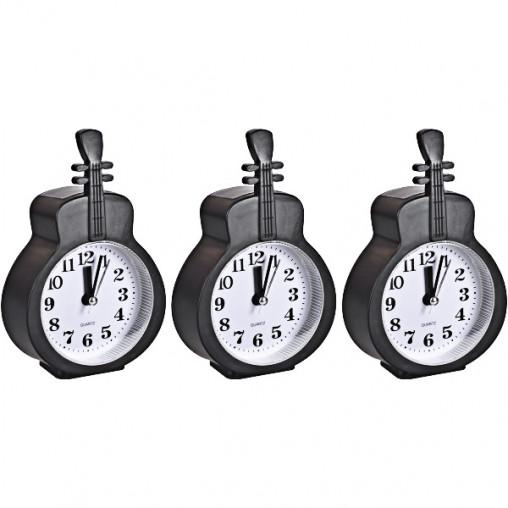 """Настольные часы - будильник НА-665 """"Гитара черная"""" 15*9,5*3,5см"""