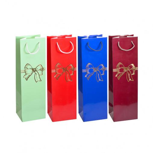 "Пакет цветной ""Бутылка - Бант цветной"" картон 12х39х9 см 7006"