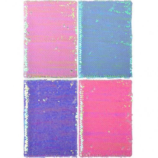 """Блокнот с пайетками 21*14,5см """"Цветной"""" твердый переплет, клетка А-4"""