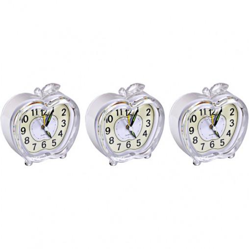 """Настольные часы - будильник 902 """"Яблоко"""" с подсветкой 9*9*4см"""