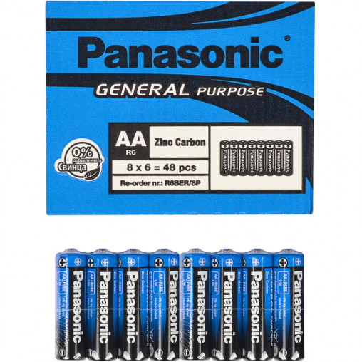 Батарейка Panasonic AA R6BER/8p General Purpose P-028604