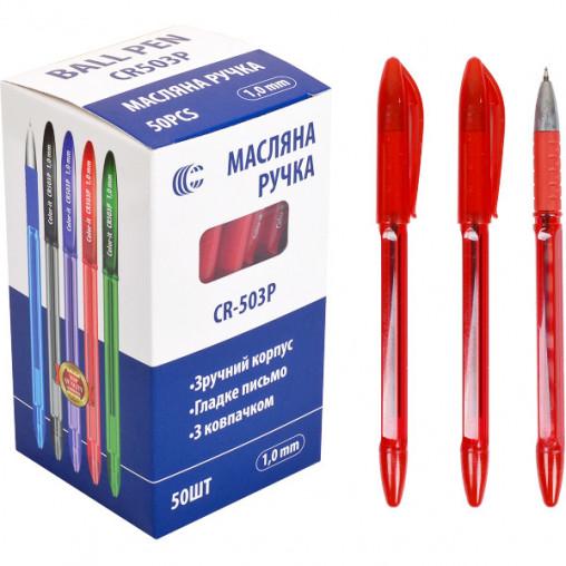 """Ручка масляная СR503Р """"С тонированная красная"""