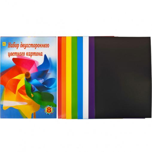 """Цветной картон А4 двусторонний, 8 листов """"Коленкор"""""""