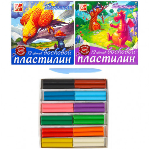"""Пластилин """"Фантазия"""" восковый 12 цветов, 210 г """"Луч"""" 25С1523-08/43274"""