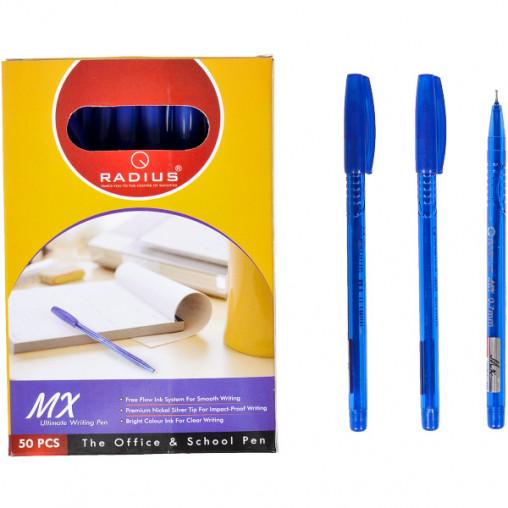 """Ручка """"MX"""" RADIUS тонированная 50 штук, синяя 777944"""
