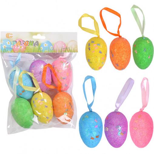 Набор Яйца декоративные 6шт глиттер с ленточкой 6см HA-408