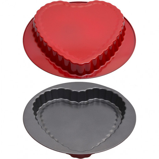Форма металлическая круглая Сердце 27,5*3см Х3-137/16073-8