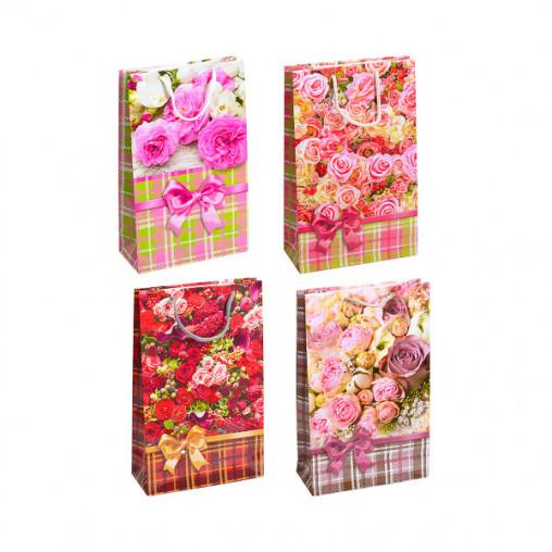 """Пакет цветной средний """"Цветочный микс Розы"""" 27х16х5 см 3017"""