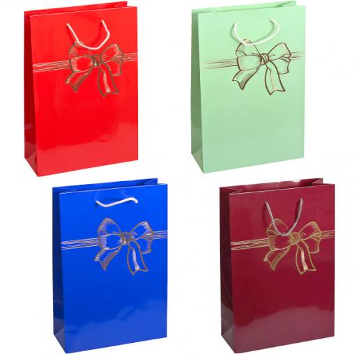 """Пакет цветной большой """"Бант"""" картон вертикальный 24х35х10 см 5023"""