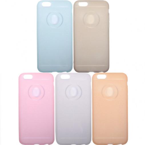 Чехол силикон матовый с глиттером на iPhone6+