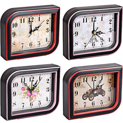 """Настольные часы - будильник Х2-24/AS895 """"Ромб"""" с картинкой 12,5*10,5*3,5см"""