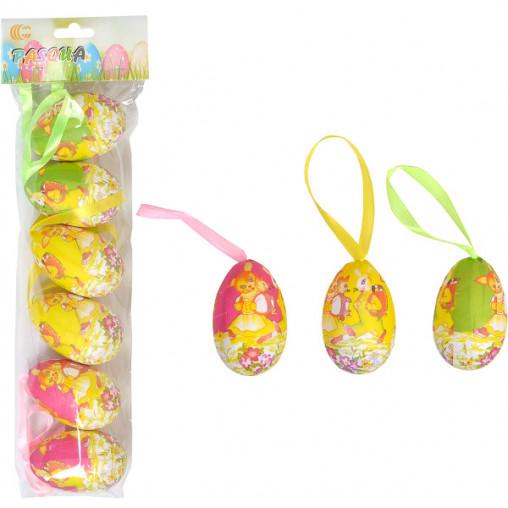 Набор Яйца декоративные 6шт с ленточкой 6см HA-572