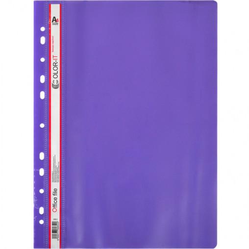 """Скоросшиватель с перфорацией А4 """"C"""" пластиковый фиолетовый 69852"""