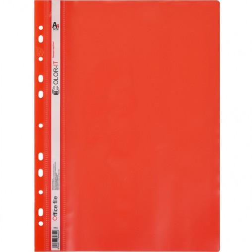 """Скоросшиватель с перфорацией А4 """"C"""" пластиковый красный 69852"""