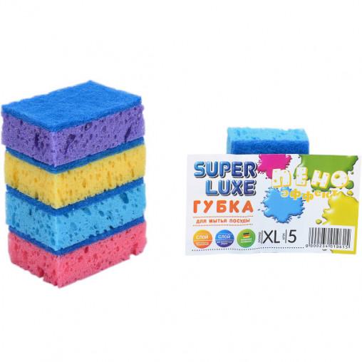 """Губка для мытья посуды XL """"Пено Эффект"""" Super Lux 5 штук, 9*6*3 см 10014"""
