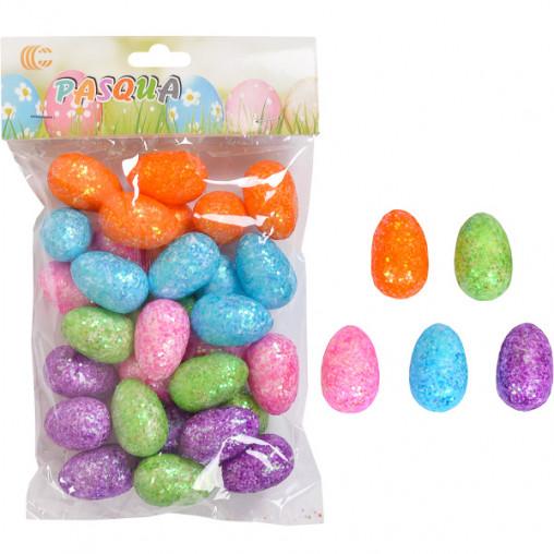 Набор Яйца декоративные цветные с блестками 3,5см A19225/ 191225