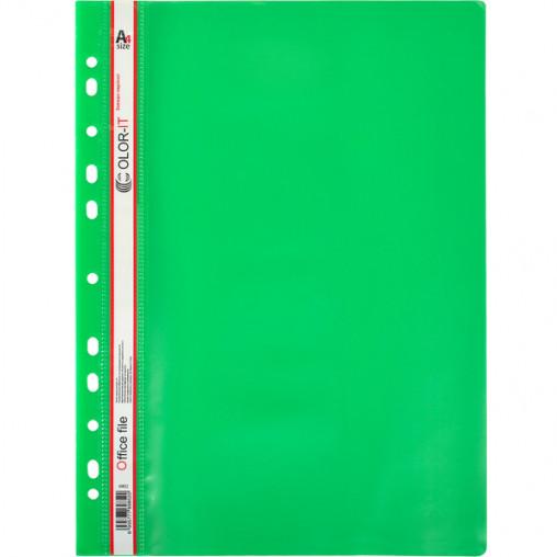 """Скоросшиватель с перфорацией А4 """"C"""" пластиковый зеленый 69852"""