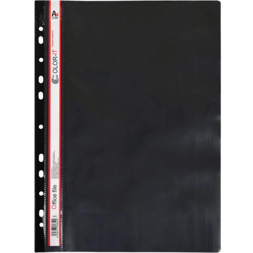"""Скоросшиватель с перфорацией А4 """"C"""" пластиковый черный 69852"""