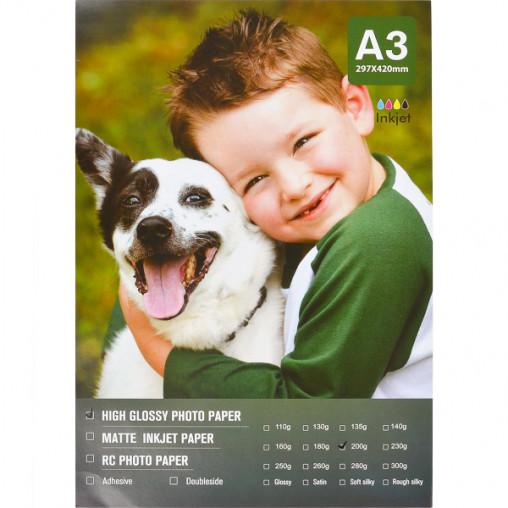 Фотобумага А3 пл. 200г/м², 20 листов, глянцевая FBA3-200