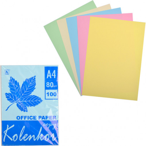 Бумага для ксерокса А4 5 цветов, пастель 100 листов 80г/м²