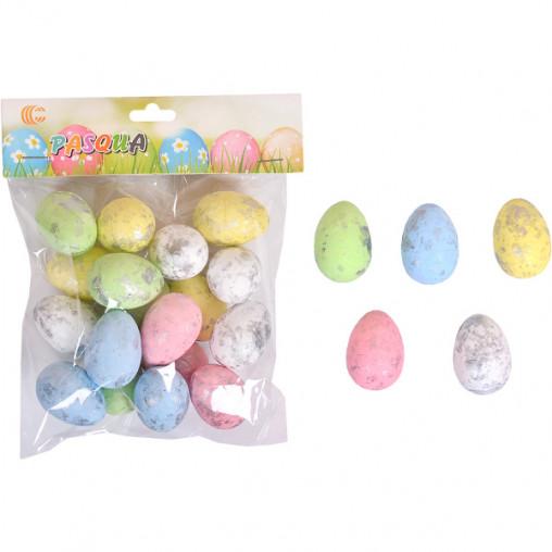 Набор Яйца декоративные цветные с серебром 4см CX19-040E