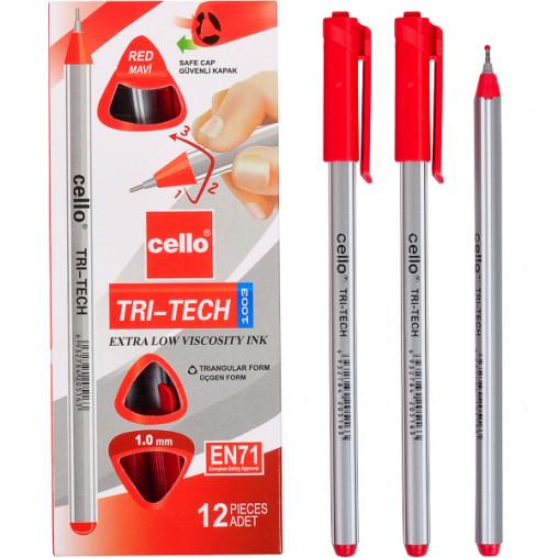 """Ручка масляна """"TRI-TECH"""" Cello CL1003-12 червона"""