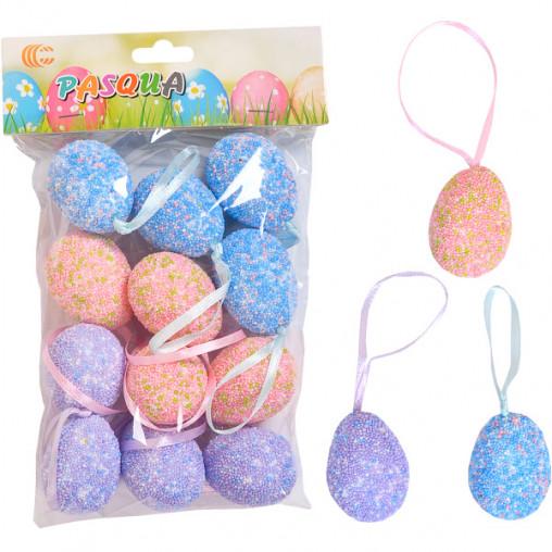Набор Яйца декоративные 12шт с ленточкой 4см 203490