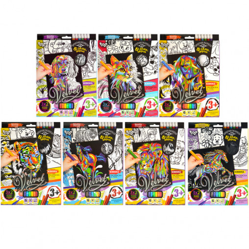 Набор бархатные раскраски фломастерами «Velvet» VLV-01-01-10 ДТ-ОО-09-19
