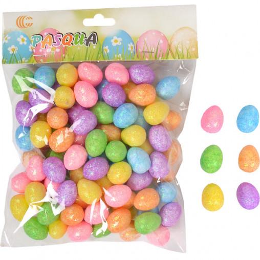Набор Яйца декоративные цветные с глиттером 2,5см HA-459