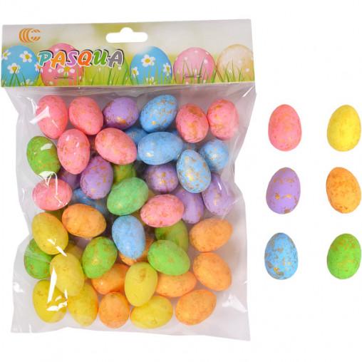 Набор Яйца декоративные цветные с золотом 2,5см HA-434