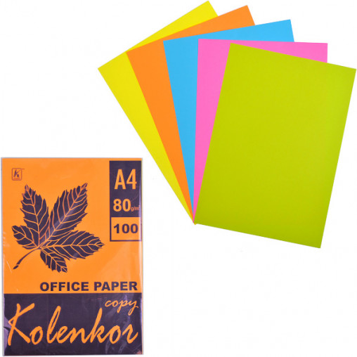 Бумага для ксерокса А4 5 цветов, НЕОН 100 листов 80г/м²