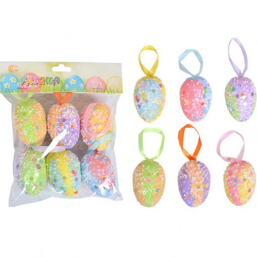 Набор Яйца декоративные 6шт с ленточкой 6см CX19-045A