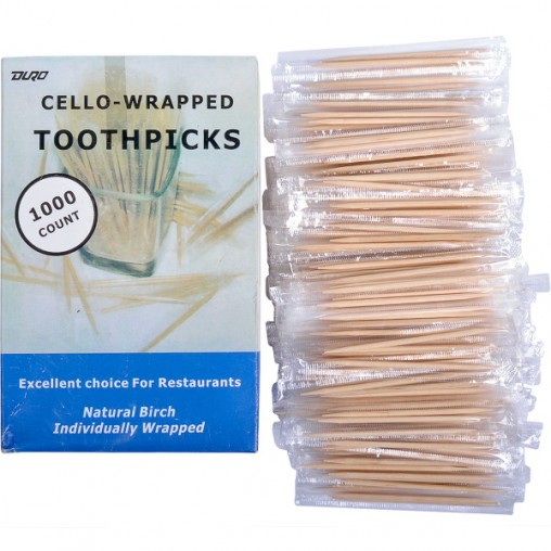 Зубочистки в целлофане 65мм 1000шт ,13,5*9*6см X1-47
