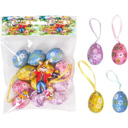 Набор Яйца декоративные 12шт с ленточкой 4см B114-1056