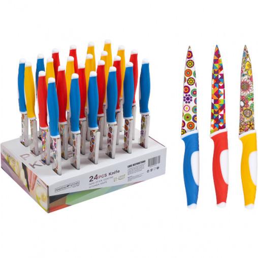Нож цветной металлический, 24 штуки 23см U1-4223T/X3-224