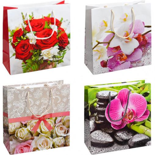"""Пакет цветной квадрат """"Цветы"""" 24х24х10 см 4012"""