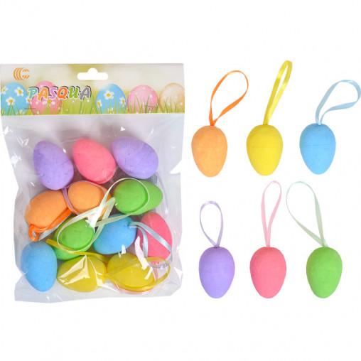 Набор Яйца декоративные 12шт цветные с ленточкой 4см HA-412