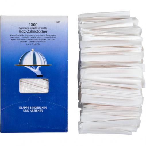 Зубочистки в бумаге 65мм 1000 штук, 16,5*9,5*7 см Х1-48
