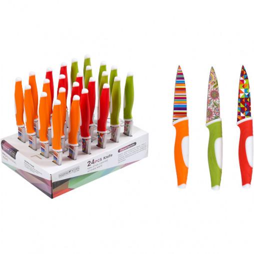 Нож цветной металлический, 24 штуки 20см U1-4222T/X3-223