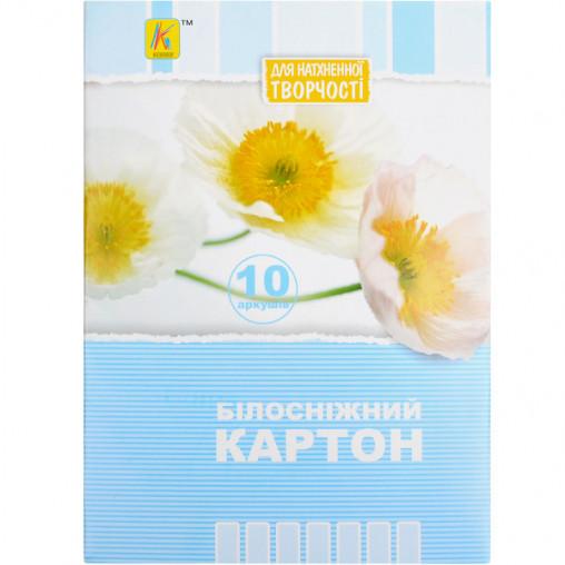 "Белый картон А5 10 листов ""Коленкор"" BKN10А5"