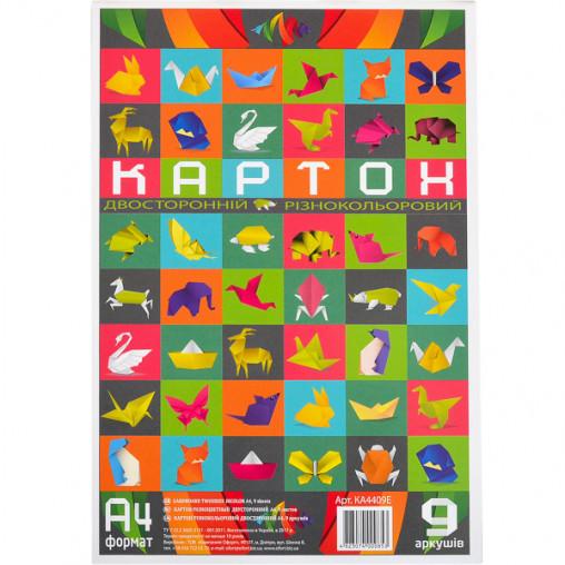 """Цветной картон А4 двусторонний, разноцветный, 9 листов """"Офорт"""" КА4409Е"""