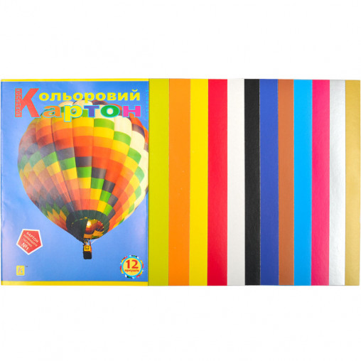 """Цветной картон А4 12 листов """"Коленкор"""" CK12"""