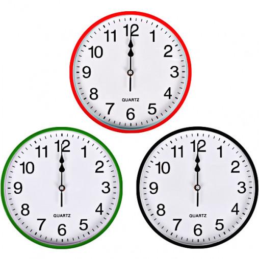 """Настенные часы Х2-39 """"Круг"""" цветной корпус, белый циферблат 25,5*4см 6025"""