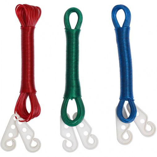 Бельевой шнур цветной с крючками 10м Х2-238
