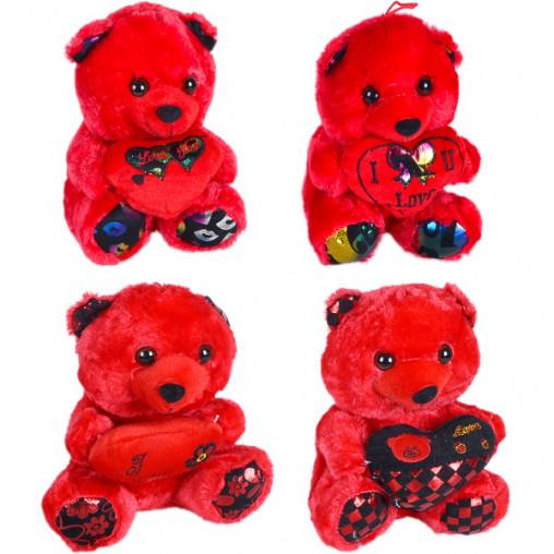 Мишка мягкая игрушка красный с надписью 58-1/S107311