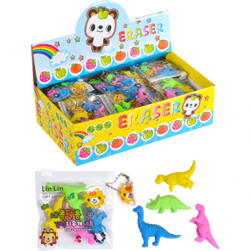 Набор цветных ластиков 4шт C0011 Динозавр Kong